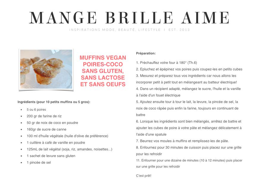 Muffins Vegan Poire-Coco MangeBrilleAime
