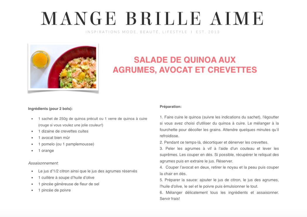 Fiche Recette Imprimable Salade Quinoa Agrumes