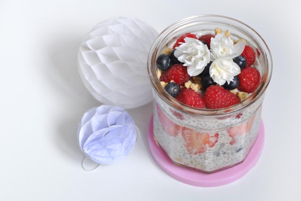 Crème dessert aux fruits rouges façon crumble (sans gluten, sans lactose)