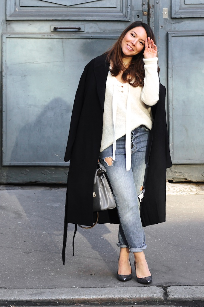 Look pull Edgar Sezane Long Manteau Zara Escarpins Maje