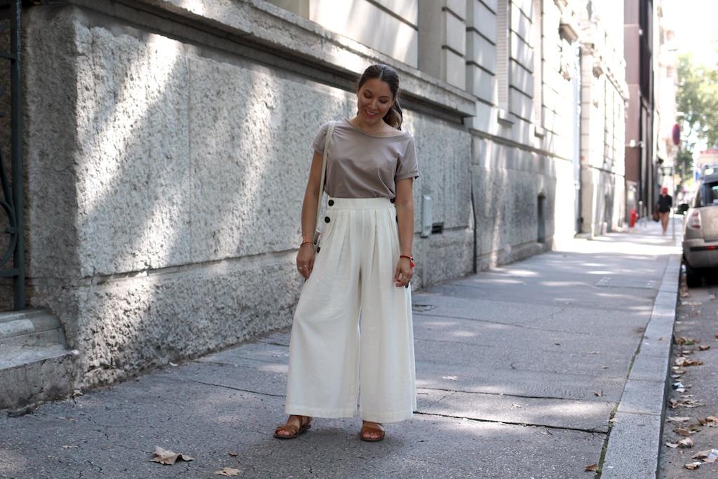 Look jupe culotte et top épaule dénudée Zara