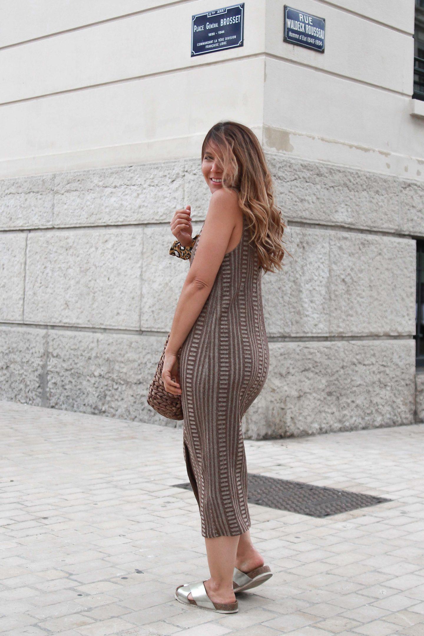 Robe jacquard marron Zara